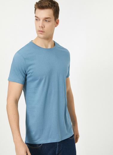 Koton Bisiklet Yaka %100 Pamuk Slim Fit Basic T-Shirt Mavi